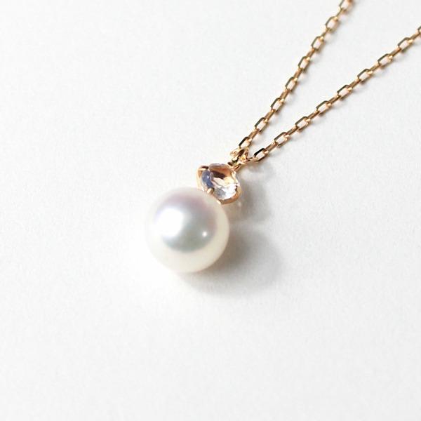 18金ピンクゴールド アコヤ真珠 ムーンストーン ペンダント【代引不可】