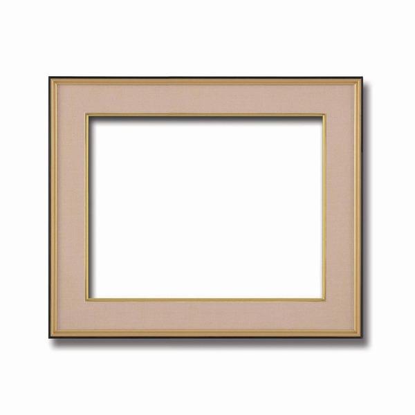 【和額】黒い縁に金色フレーム 日本画額 色紙額 木製フレーム ■黒金 色紙F10サイズ(530×455mm) ベージュ