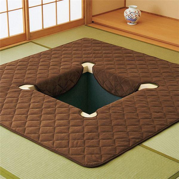 キルトタイプ 堀ごたつ用ラグマット/絨毯 【約230×330cm ブラウン】 長方形 洗える 起毛タイプ ホットカーペット/床暖房対応