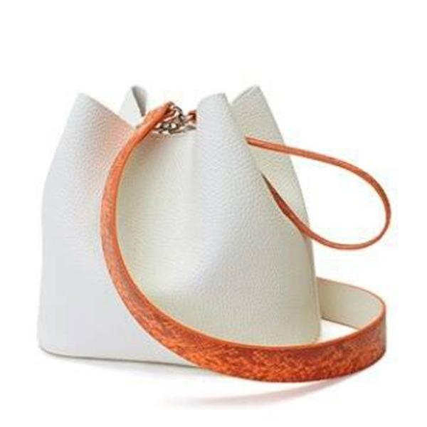 カラフル5色♪柔らか素材の巾着型2Wayショルダーバッグ/アイボリー