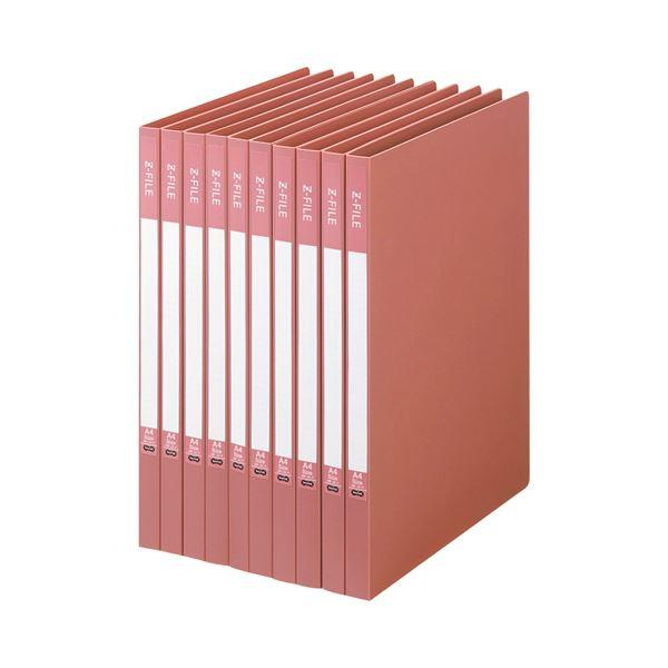 (まとめ) TANOSEE Zファイル(再生PP表紙) A4タテ 100枚収容 背幅17mm ピンク 1セット(10冊) 【×5セット】