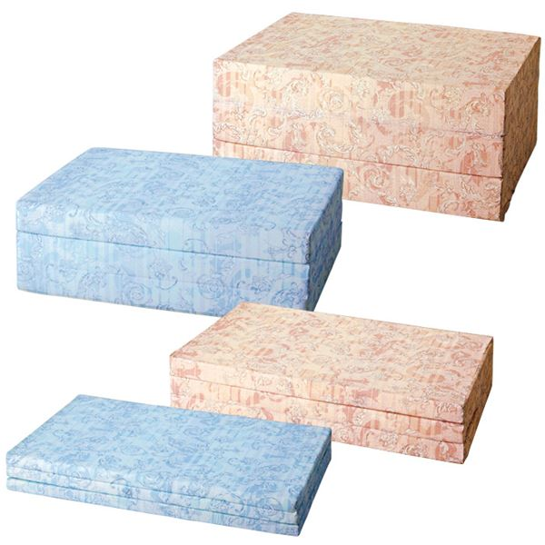 バランスマットレス/三つ折りマットレス 【ブルー/セミダブルサイズ 厚さ14cm】 ベッド用/布団用