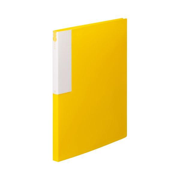 (まとめ) TANOSEE クリヤーブック(クリアブック) A4タテ 24ポケット 背幅17mm イエロー 1セット(10冊) 【×5セット】
