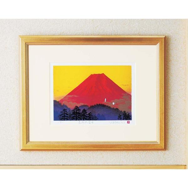 シルク版画/額付き 【四ツ切サイズ】 吉岡浩太郎 吉祥 「飛鶴赤富士」 壁掛け紐付き 箱入り 日本製