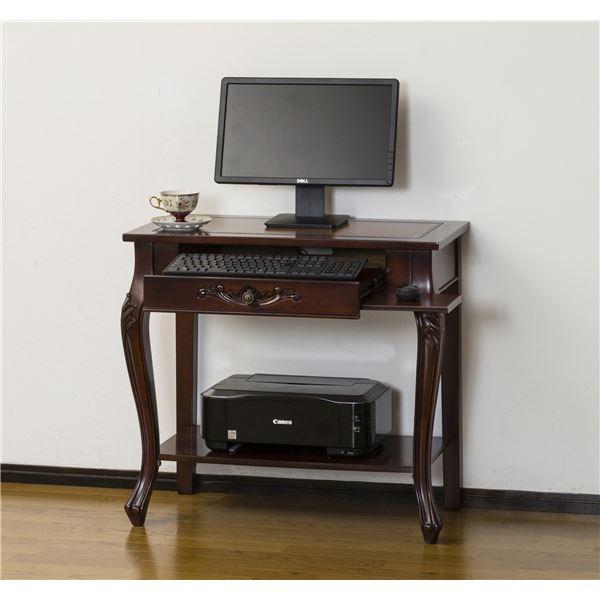 アンティーク調パソコンデスク/インテリアテーブル 【幅76cm ブラウン】 『コモ』 猫足 【組立】