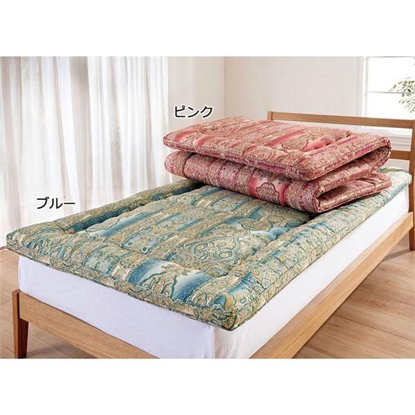 抗菌・防臭・防ダニ 羊毛入り敷布団 【ダブルサイズ ピンク】 折りたたみ 吸湿 保温 ベッド対応