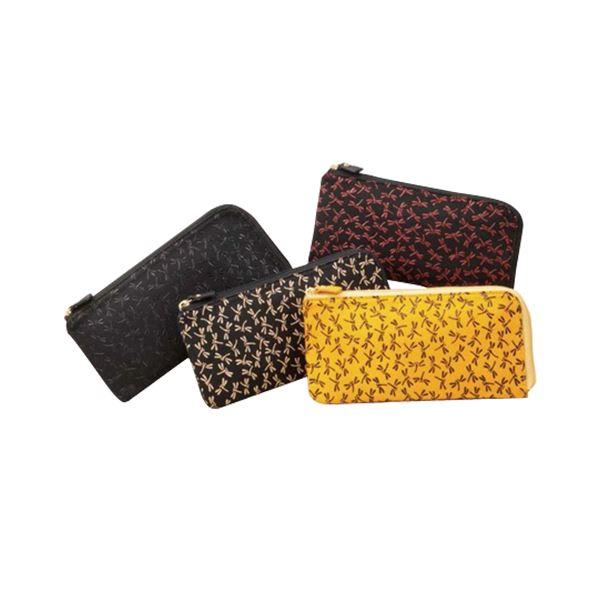 鹿革印傳本漆(トンボ柄) L型長財布 (ブラック×レッド)