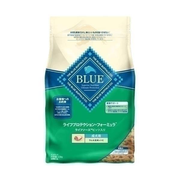 (まとめ)ブルーバッファロー 成犬用 ラム&玄米 2.5kg【×4セット】【ペット用品・犬用フード】