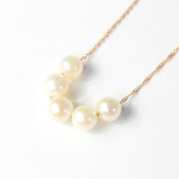 18金 ピンクゴールド アコヤ真珠 5ストーン ネックレス ペンダント【代引不可】