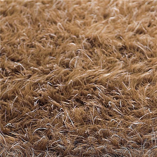 ふんわりボリューム!防炎シャギーラグマット/絨毯 【ダークブラウン 約130cm×190cm】 長方形 日本製 折りたたみ