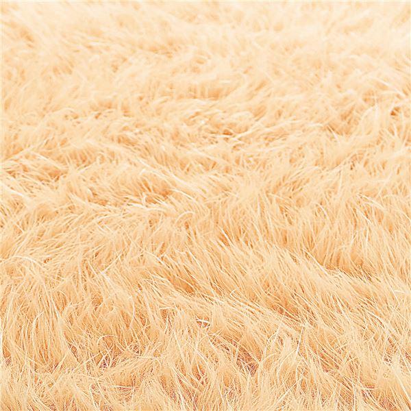 ふんわりボリューム!防炎シャギーラグマット/絨毯 【オレンジ 約190cm×240cm】 長方形 日本製 折りたたみ