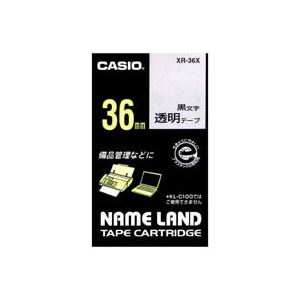(業務用20セット) カシオ CASIO 透明テープ XR-36X 透明に黒文字 36mm