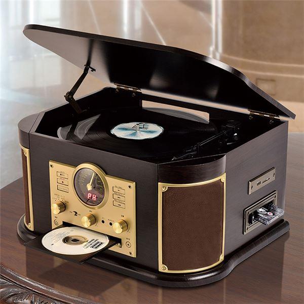 マルチレコードプレーヤー/CDプレーヤー 【幅44.5cm】 木製 リモコン EPアダプター 交換用レコード針1本付き 〔寝室 リビング〕