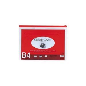 (業務用100セット) LIHITLAB クリアケース/書類入れ 【B4サイズ/マチなし】 ビニール製 透明 横型 F-75S レッド(赤)