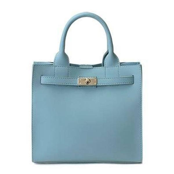 カラフルだけどシンプルなベルト付ハンドバッグ/ブルー