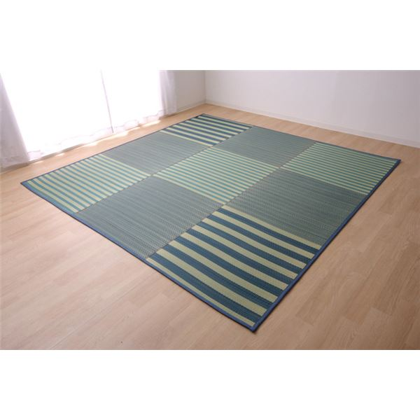 い草ラグ カーペット ラグマット 4.5畳 はっ水 『撥水ラスター』 ブルー 約240×240cm (中:ウレタン8mm)
