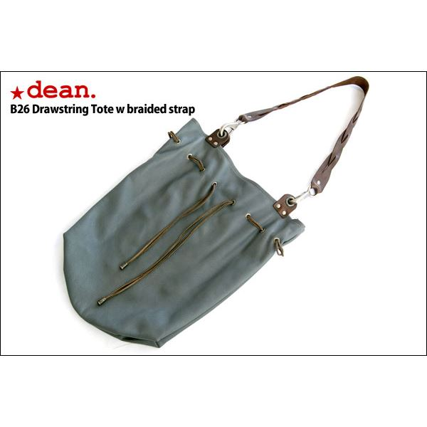 ★dean(ディーン) drawing tote w braided strap レザーバッグ グレー ハンドル/茶