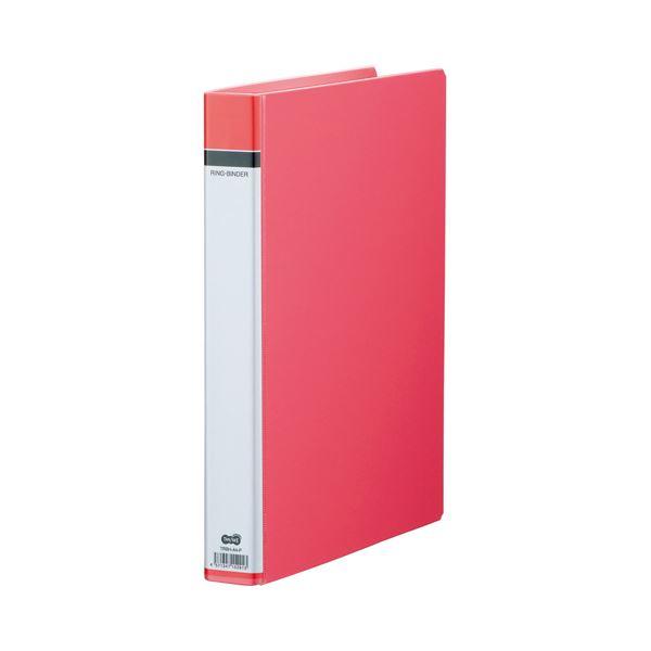 (まとめ) TANOSEE 30穴バインダー(貼り表紙) A4タテ 100枚収容 背幅42mm ピンク 1セット(10冊) 【×2セット】