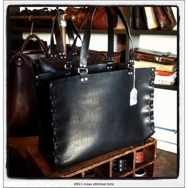 ★dean(ディーン) crossed stitch tote レザーバッグ 黒