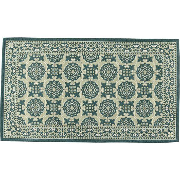 ヨーロピアンタイル調ゴブランシェニールラグ・マット(リブラ)(カーペット・絨毯) 【約130×190cm】 グリーン