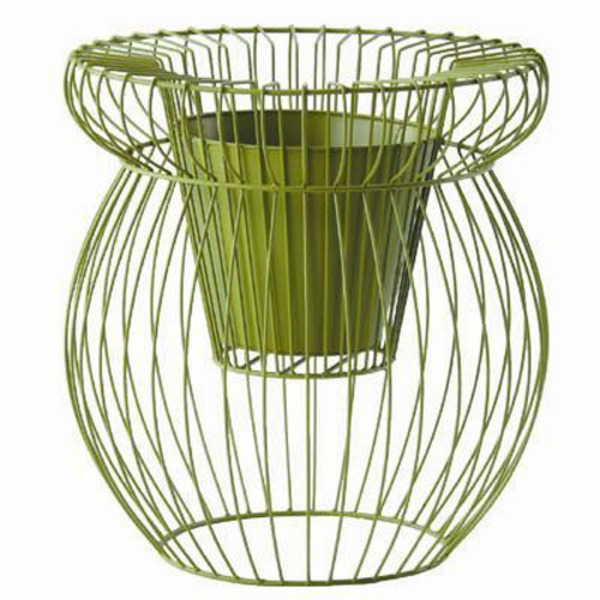 鉢を入れたり植え込んだり自由自在!おしゃれな花かご フラワーバスケット/植木鉢カバー スケルトンα 高さ72cm アイアン樹脂製ポット 穴無 グリーン(緑) 〔ガーデニング用品/園芸〕