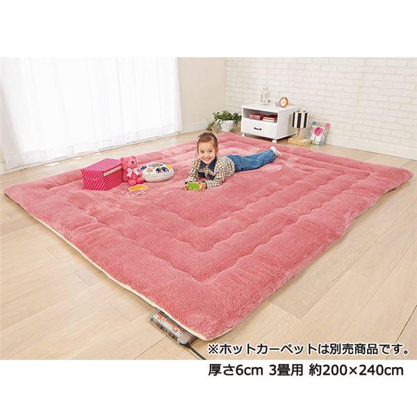 ふっかふかラグマット 単品 【厚さ3cm 3畳用 約200×240cm】 床暖可 サーモンピンク