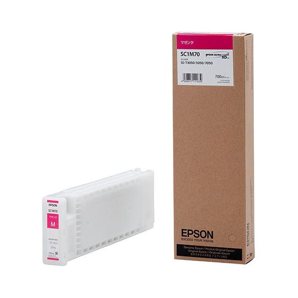 (まとめ) エプソン EPSON インクカートリッジ マゼンタ 700ml SC1M70 1個 【×3セット】