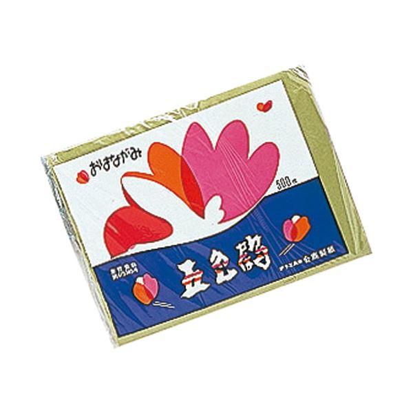 (まとめ)合鹿製紙 おはながみ 五色鶴 500枚 緑【×50セット】