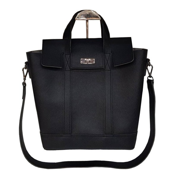 くったり柔らか素材♪スタイリッシュな薄型ビジネスハンドバッグ/ブラック
