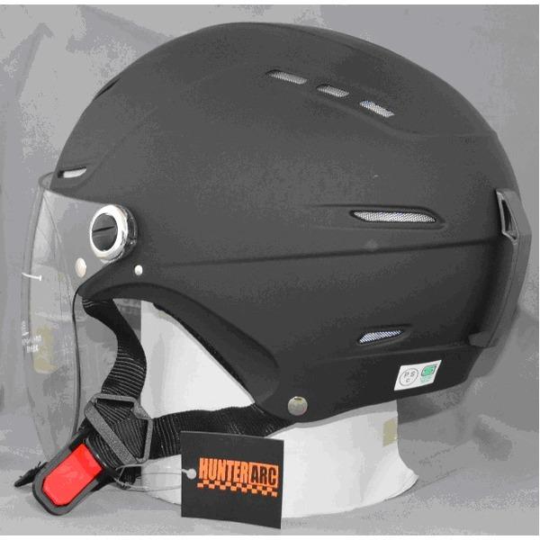 サングラスタイプ インナーシールド装備 開閉式シールド付きハーフヘルメット マットブラック