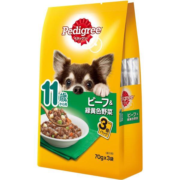 (まとめ)ペディグリー 11歳から用 ビーフ&緑黄色野菜 70g×3袋【×48セット】【ペット用品・犬用フード】