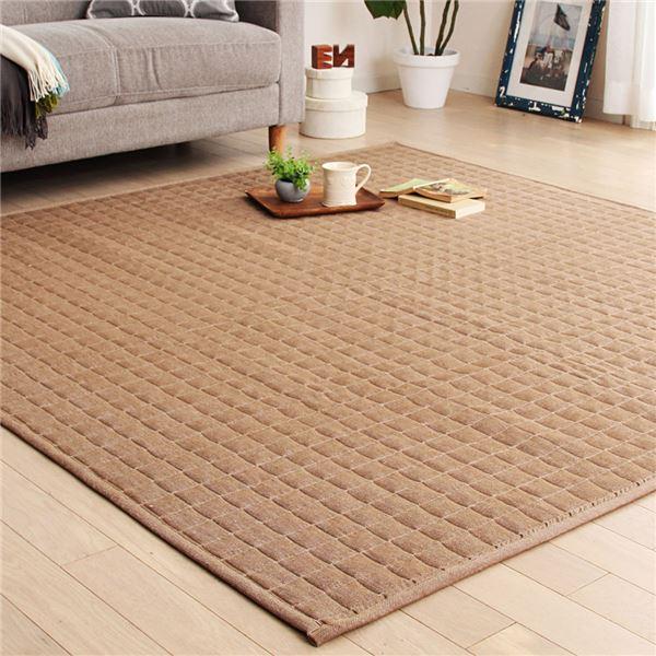 デニム風 ラグマット/絨毯 【約185cm×185cm ブラウン】 正方形 洗える 折りたたみ ホットカーペット可 『Denimy』 〔リビング〕
