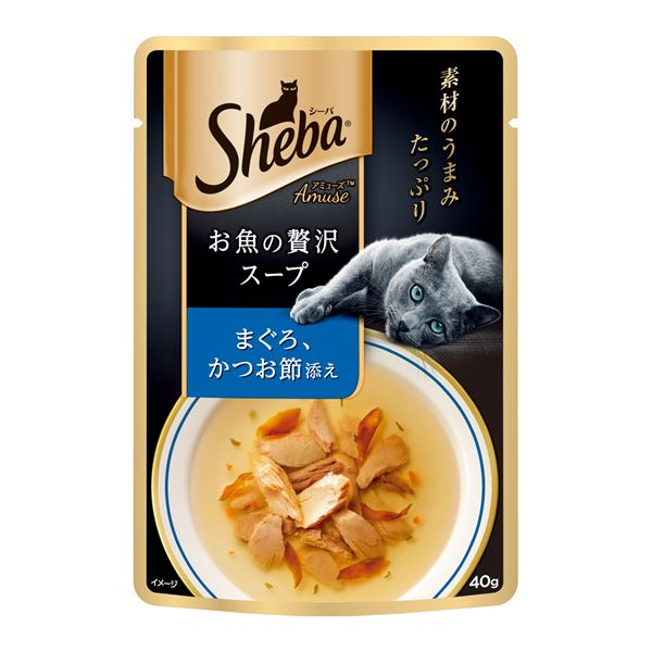 (まとめ)シーバ アミューズ お魚の贅沢スープ まぐろ、かつお節添え 40g【×96セット】【ペット用品・猫用フード】