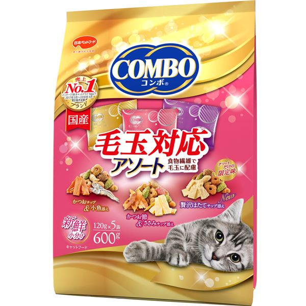 (まとめ)コンボ キャット 毛玉対応アソート 600g【×12セット】【ペット用品・猫用フード】
