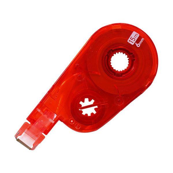 (まとめ) プラス 修正テープ ホワイパースイッチ交換テープ(簡易パッケージ) 6mm幅×15m レッド WH-1516R RD 1セット(10個) 【×5セット】