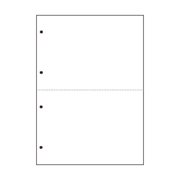 TANOSEE汎用マルチタイププリンタ帳票 白紙 A4 2分割 4穴 1箱(2500枚:500枚×5冊)