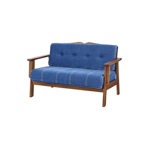 レトロ調 ソファー 【2人掛け ブルー】 幅122cm 木製 コットン 肘付き 『オズウェル』 〔リビング ダイニング〕