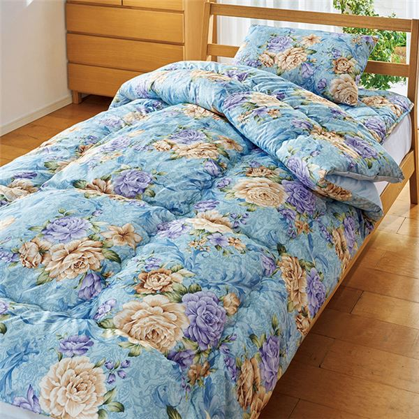 【TEIJIN】 清潔 布団セット/寝具 【ダブル ブルー】 洗える 日本製 掛け布団 敷布団 枕付き 抗菌 防臭 保温性 〔寝室〕