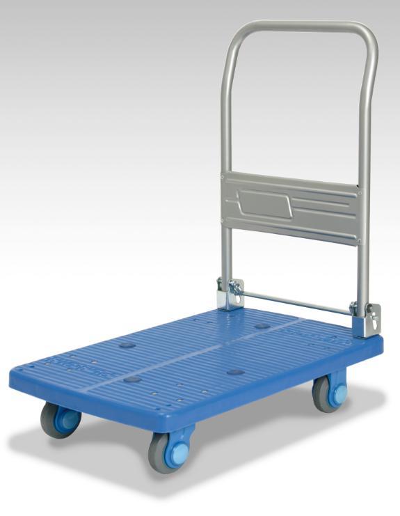 カナツー <静音シリーズ> ハンドル折りたたみ式台車 PLA150-DX ブルー 150kgまで 静音キャスター【代引き不可】