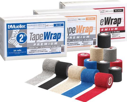 Mueller(ミューラー) テープラッププレミアム50mm 自着性伸縮テープ 1ケース24個入 グレー/ブラック/ベージュ/ブルー/レッド 50mm×5.45m テーピング