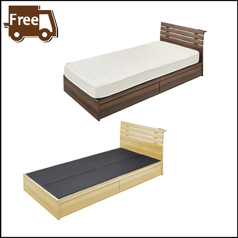 【本日5日はポイント10倍】シングルベッド フレーム 1人用ベッド 引き出し付きベッド 収納 木製 北欧 西海岸 ブラウン ナチュラル おしゃれ 母の日