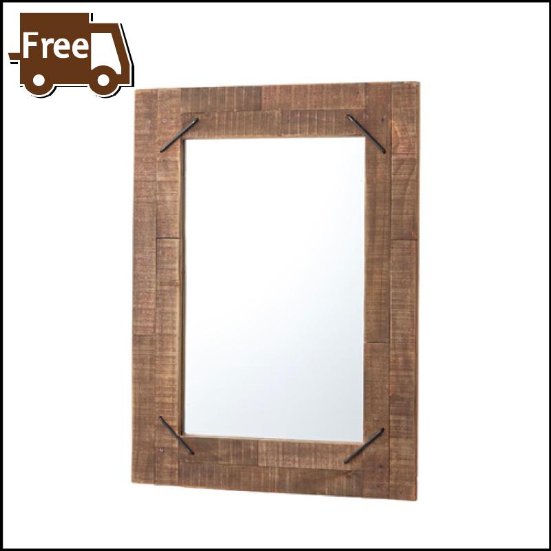 【本日5日はポイント10倍】【ミラー おしゃれ セール】ミラー 壁掛け 鏡 姿見 天然木 木製 男前 インダストリアル おしゃれ 母の日