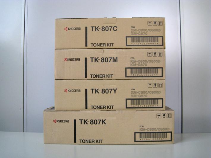 【純正トナーカートリッジ】★京セラ TK-807 シアン、マゼンタ、イエロー、ブラック「4色セット」★・対応機種:KM-C850、C830、C850D、C830D、C870・【あす楽】【トナーは1万円以上のお買い上げで送料無料!】【平日午後4時までにご注文確定なら当日発送致します!】