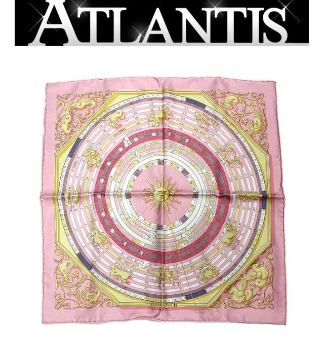 【一部予約!】 美品 エルメス HERMES カレ45 スカーフ『DIES ET HORE 占星術』ピンク シルク100%, EUROパーツ f46dfd80
