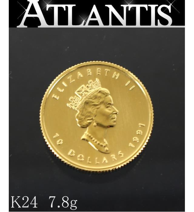 未使用 エリザベス2世 お気にいる 10ドル 金貨 1991 メイプルリーフ 地金 K24 7.81g 1 4oz 『1年保証』