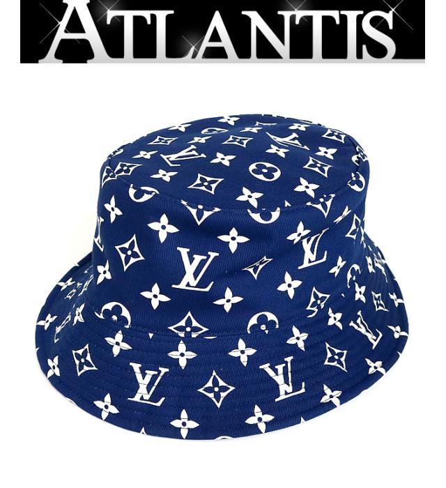 LOUIS VUITTON 銀座店 新品 ルイヴィトン 20SS LVエスカルボブ 高品質 size:M バケットハット キャンパス ネイビー×ホワイト 激安 激安特価 送料無料 帽子