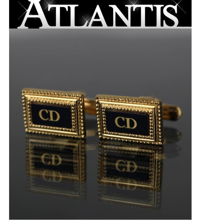 今季も再入荷 美品 クリスチャンディオール Dior ヴィンテージ CDロゴ スウィヴル式 黒×G金具 カフス スクエア 予約販売品