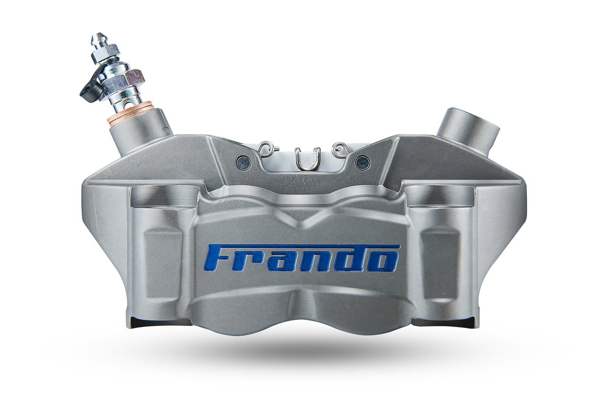 FRANDO F80A 80mmピッチ 4POTラジアルマウントキャリパー ライトハードアルマイト/ブルーロゴ KTM DUKE390 RC390 BMW G310