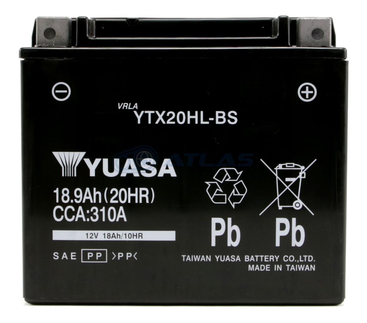 台湾YUASA ハーレー用AGMバッテリー YTX20HL-BS 液入り充電済み 1年保証付き 互換 YTX20L-BS HARLEY DAVIDSON ハーレー純正 65989-97A 65989-97B 65989-97C 66000207