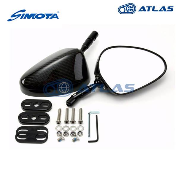 SIMOTA ツイルカーボンミラー オーバル クリアレンズ 70mm ステムフィッティングプレート Sタイプ